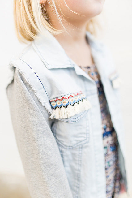 Big Sky Dani Denim Jacket with Embroidery & Fringe