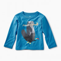 Beaver Long Sleeve Graphic Tee in Blue