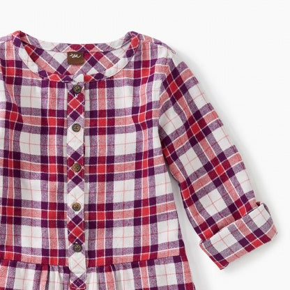 Purple and Red Plaid Flannel Shirtdress