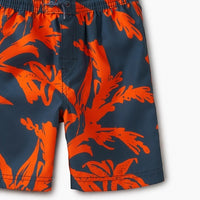 Tropical Pattern Orange/Navy Swim Trunks