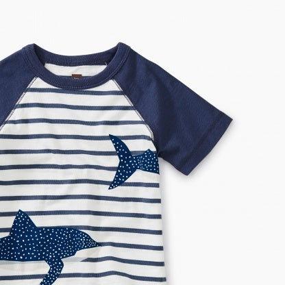 Shark Striped Raglan Baby Graphic Tee