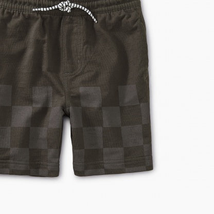 Iron Grey Half Checker Knit Shorts