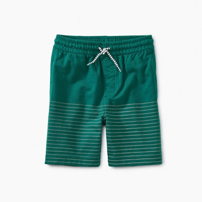 Half Stripe Knit Shorts in Tidepool