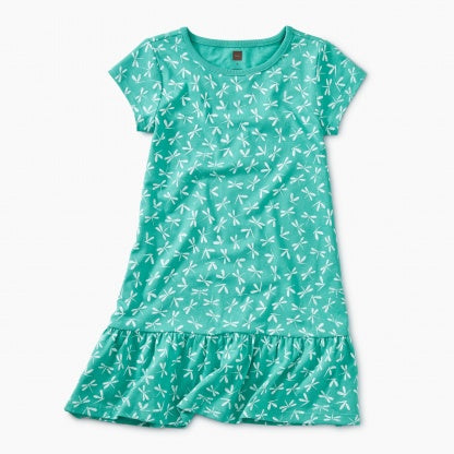 Dragonfly Teal Ruffle Dress
