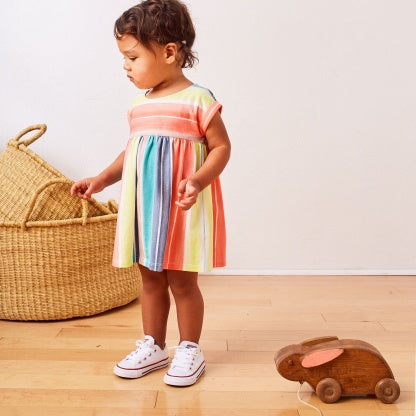 Watercolor Stripe Empire Baby Dress