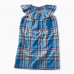 Sea Breeze Plaid Ruffle Neck Dress