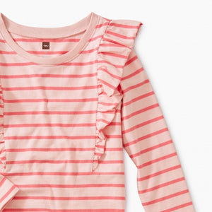 Pink Striped Ruffle Dress