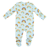 Rainbows Blue Bamboo Zipper Footie