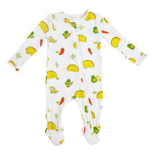 Taco Party Bamboo Zipper Footie