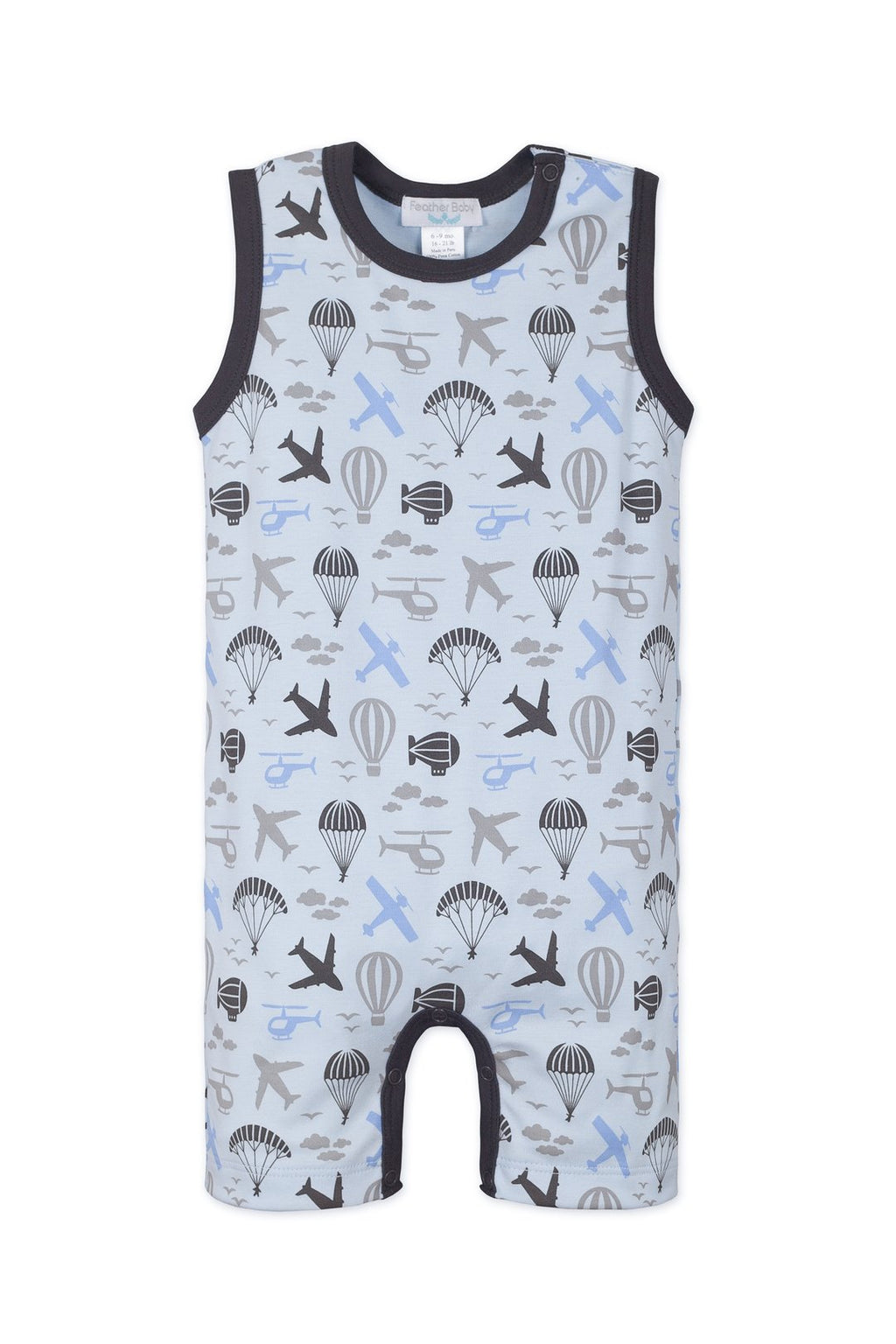 Tank Romper ~ Air Transport on Baby Blue