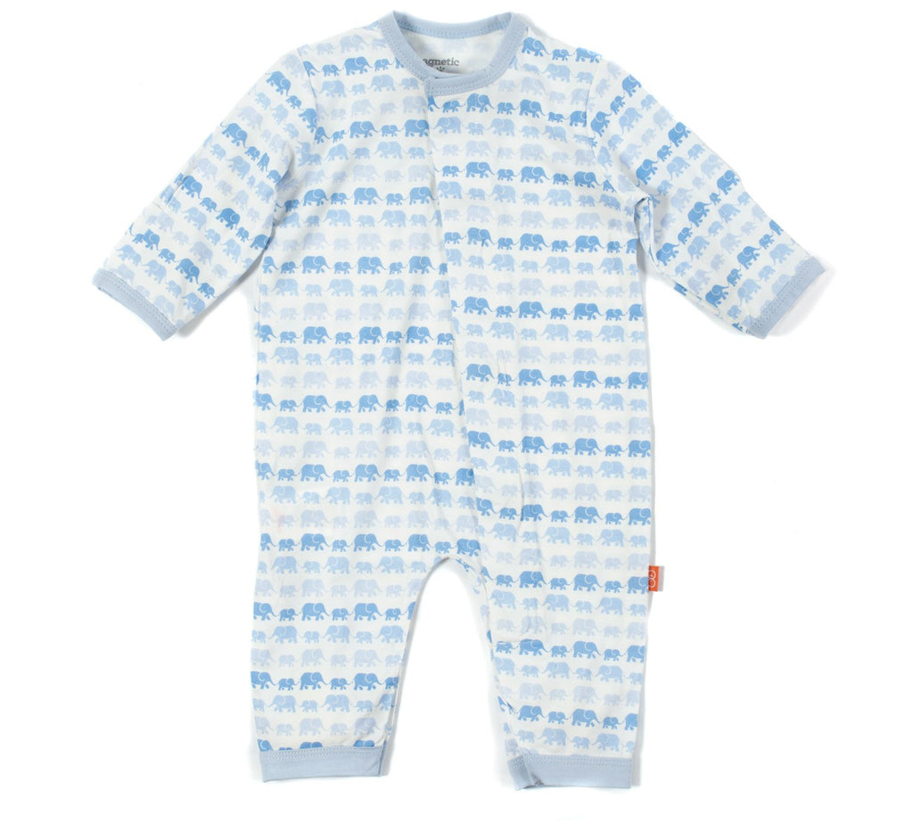 Blue Dancing Elephants Modal Magnetic Coverall