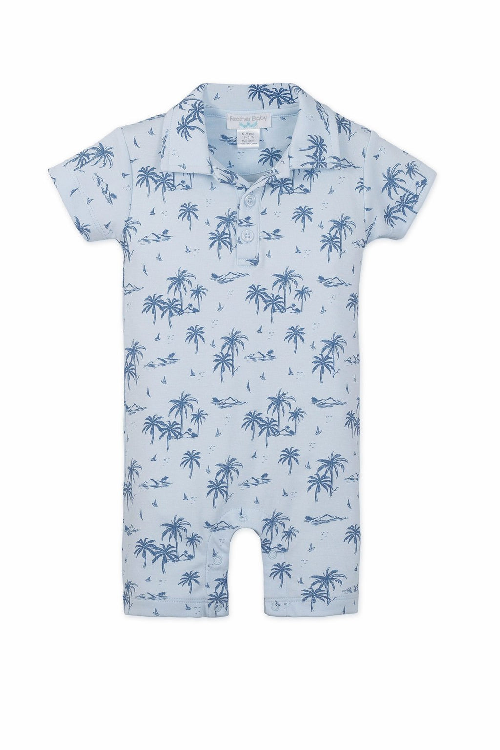 Collared Romper ~ Hawaii ~ Indigo on Blue