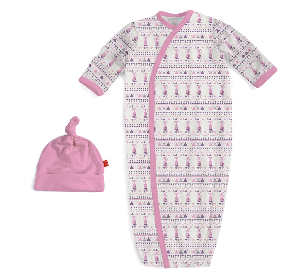 Pink Foxy Fair Isle Modal Magnetic Gown & Hat Set by Magnificent Baby