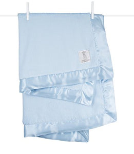 "Blue Luxe Blanket with Satin Trim 29""x35"""