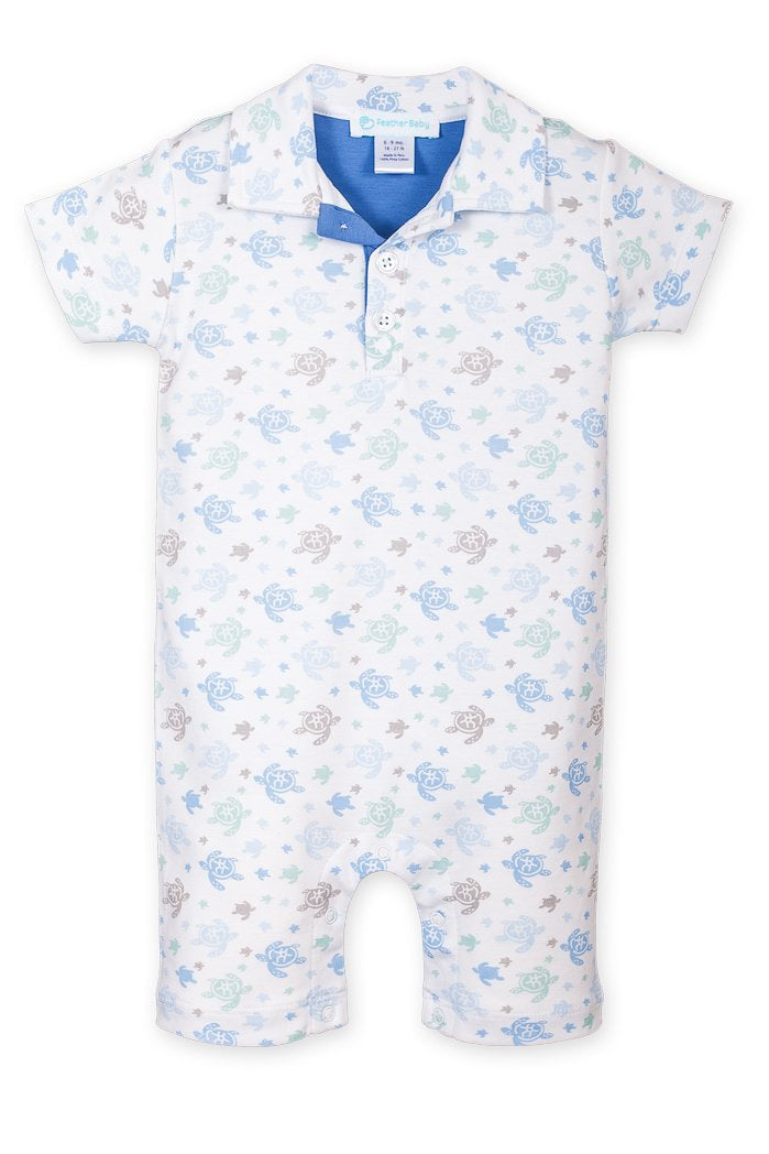 Collared Romper ~ Sea Turtles on White