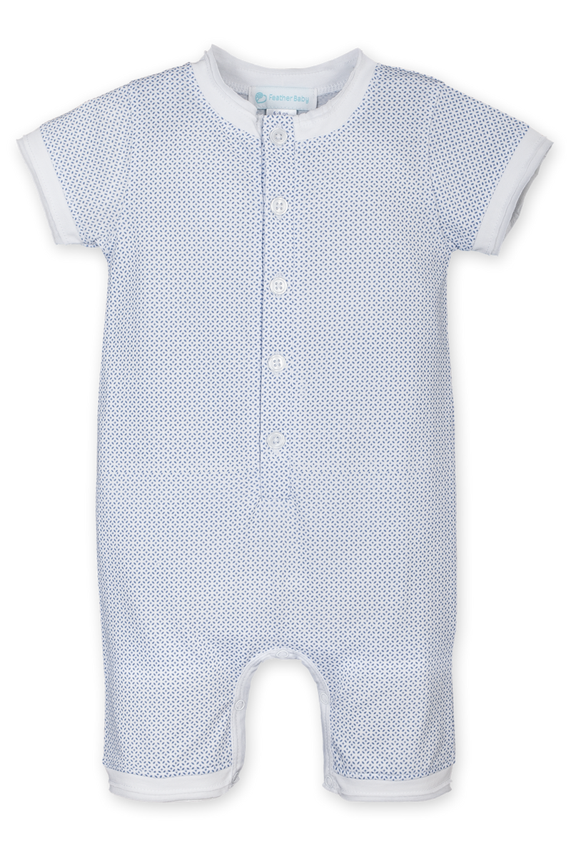 Tiny Geo on White Henley Romper
