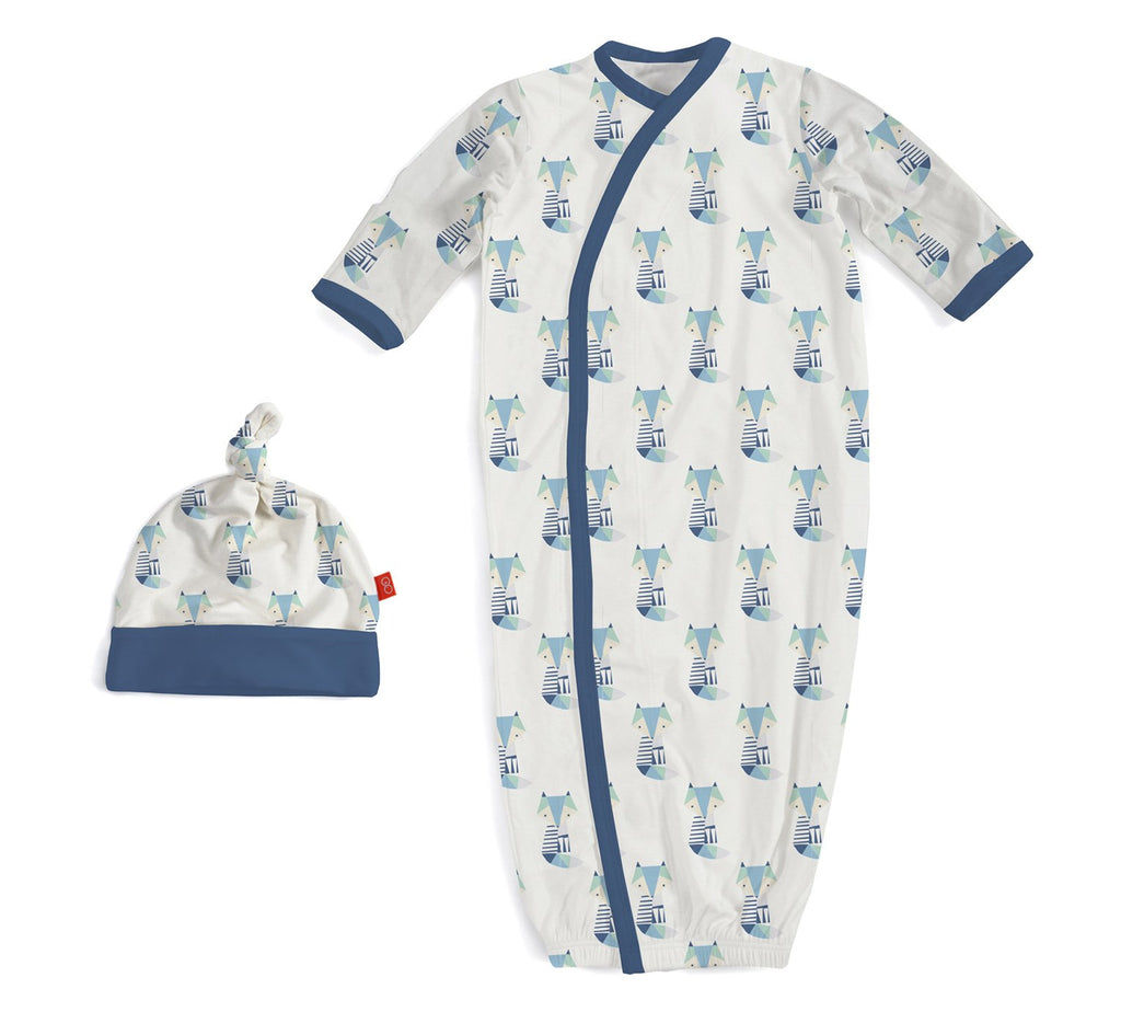 Blue Cool as Fox Modal Magnetic Gown & Hat Set by Magnificent Baby