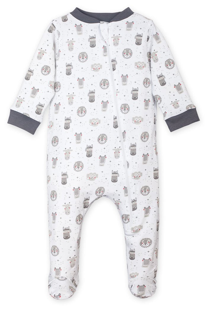 Safari on White Zipper Footie