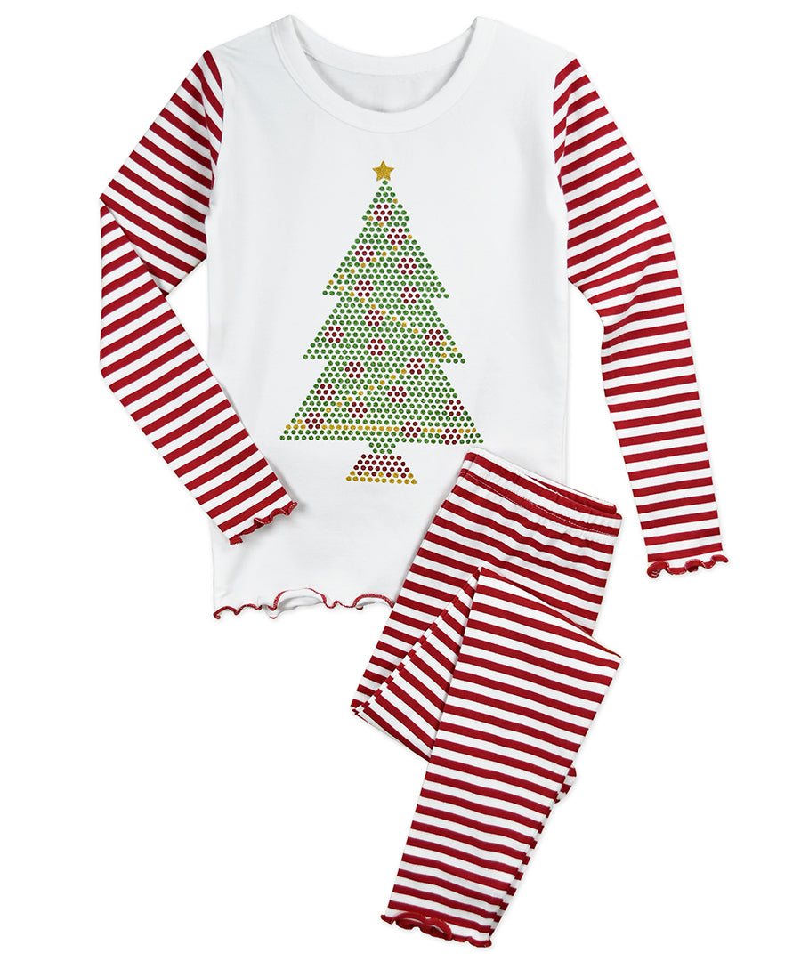 Sara's Prints Glitter Dot Tree Snug Fit PJs