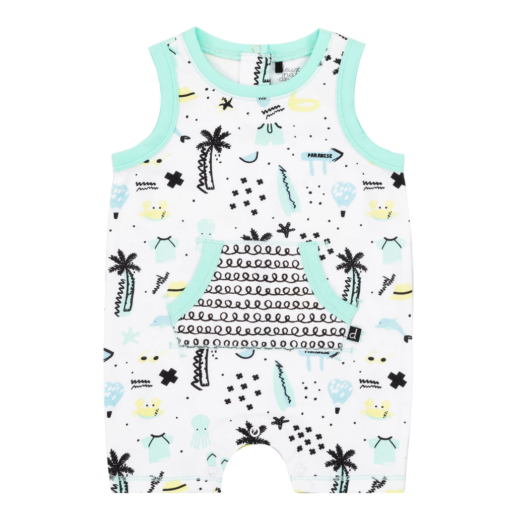 Teal & Black Palm Tree Print Romper