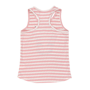 Pink & White Striped Unicorn Tank Top