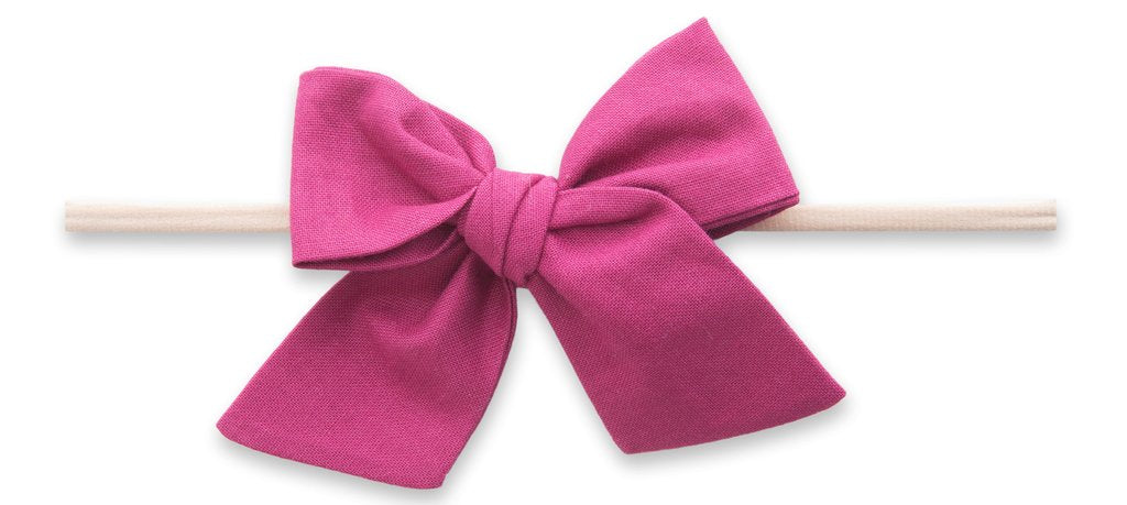 Cotton Bow Skinny Headband-Raspberry