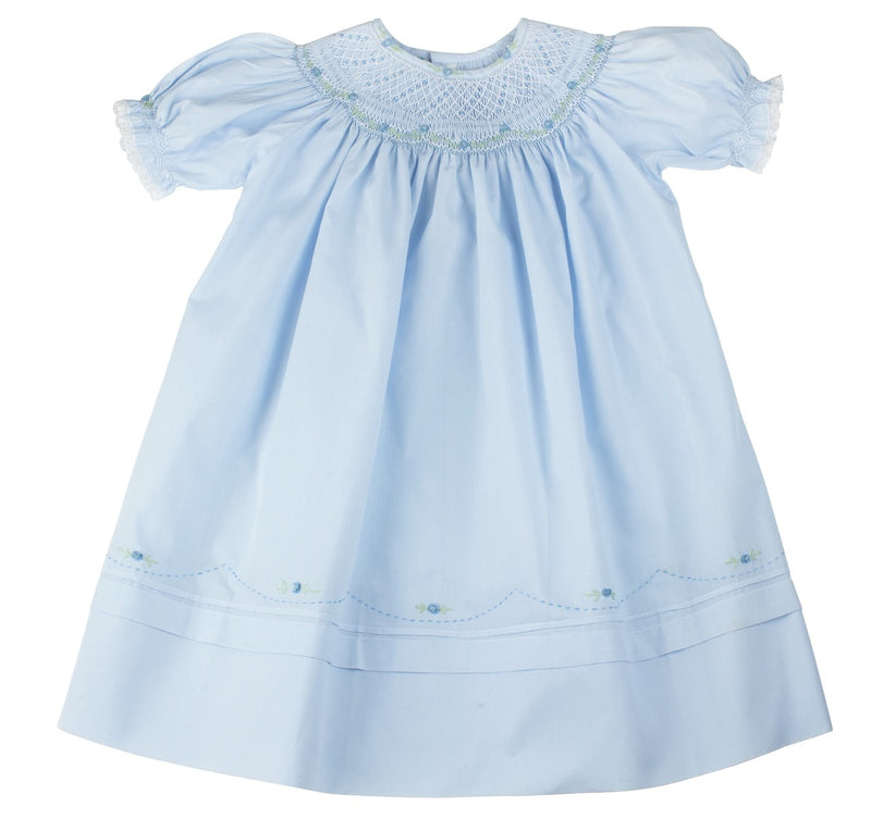 Blue Rosette Bishop Dress