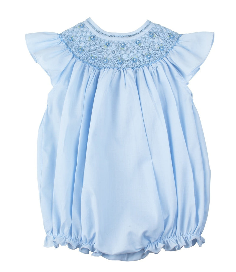Blue Smocked Bubble with Fly Sleeves
