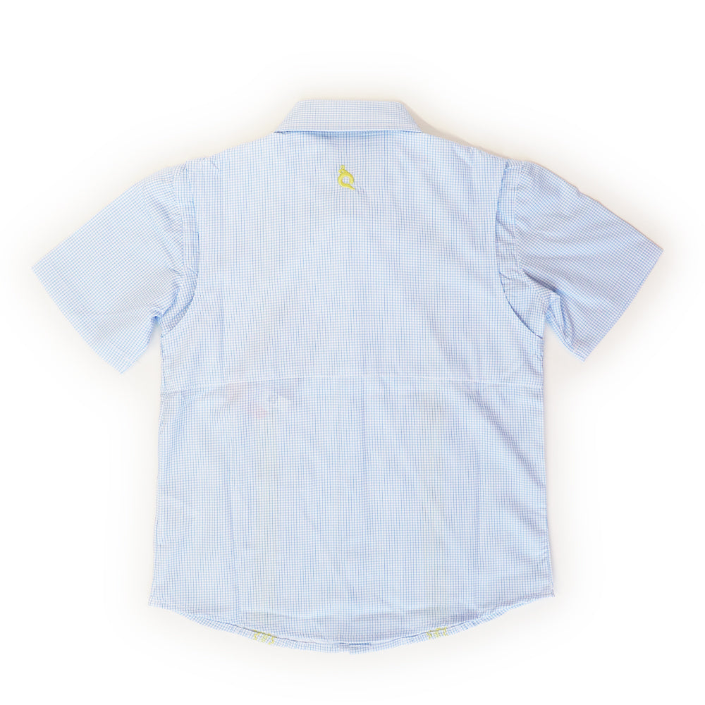 Light Blue Plaid & Yellow Guayabera