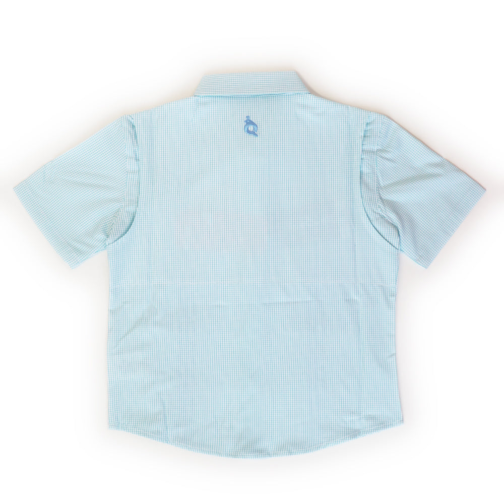Mint Plaid & Light Blue Guayabera