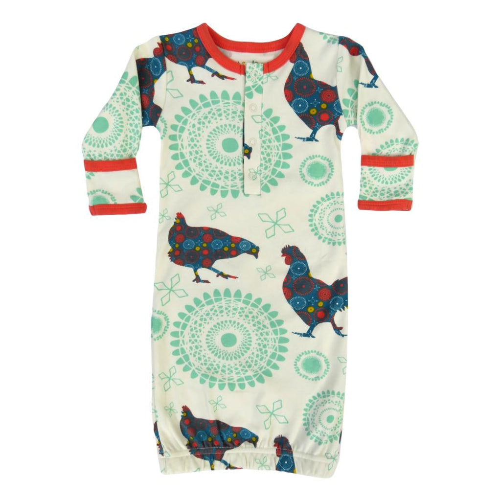 Chickens & Coral Organic Cotton Gown