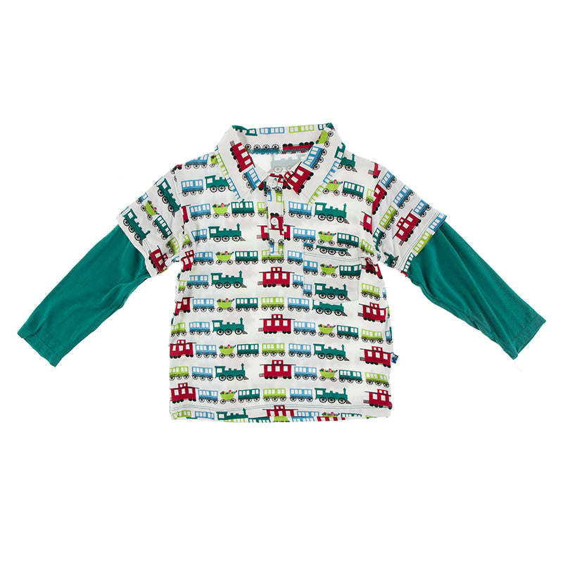 Long Sleeve Double Layer Polo - Natural Toy Trains