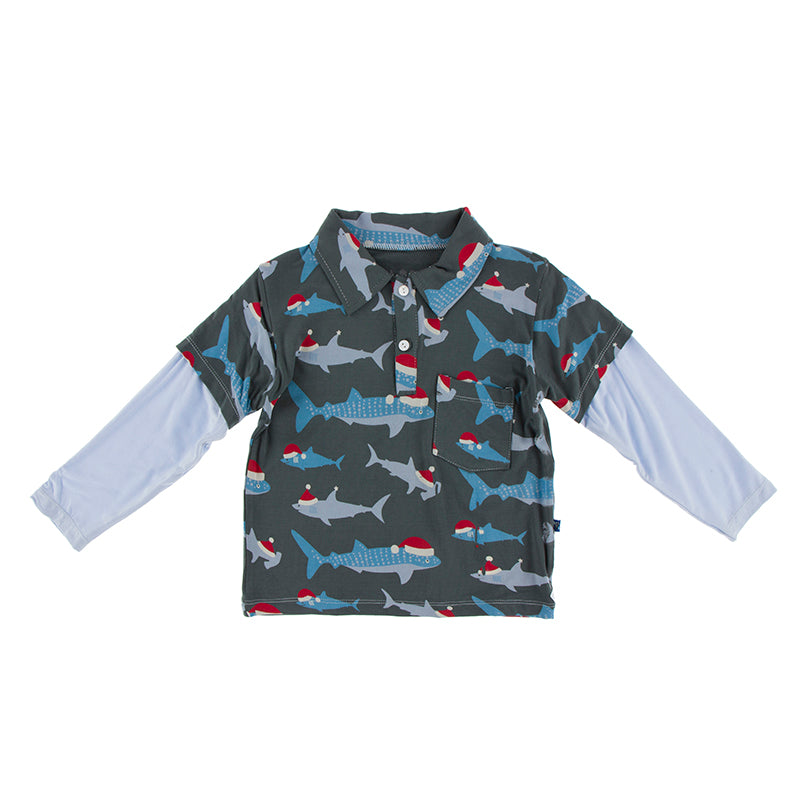 Long Sleeve Double Layer Polo - Pewter Santa Sharks