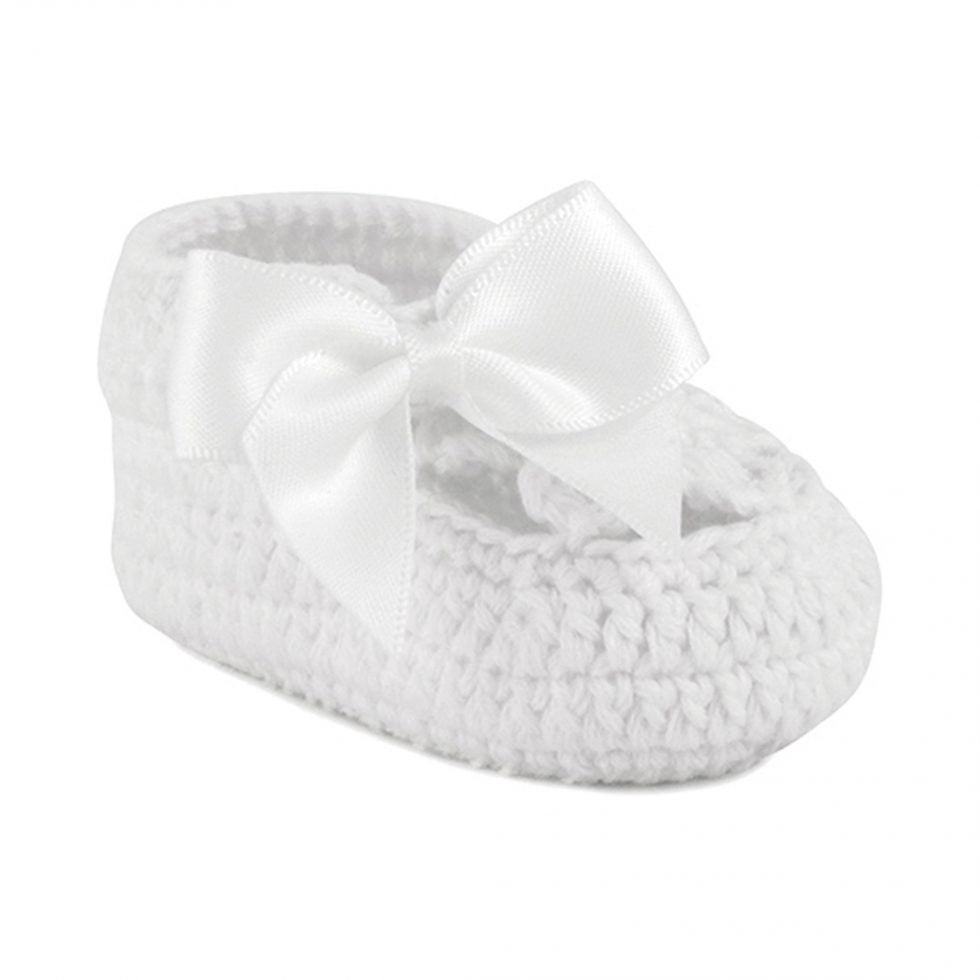 Ella Crochet Bootie with Satin Bow