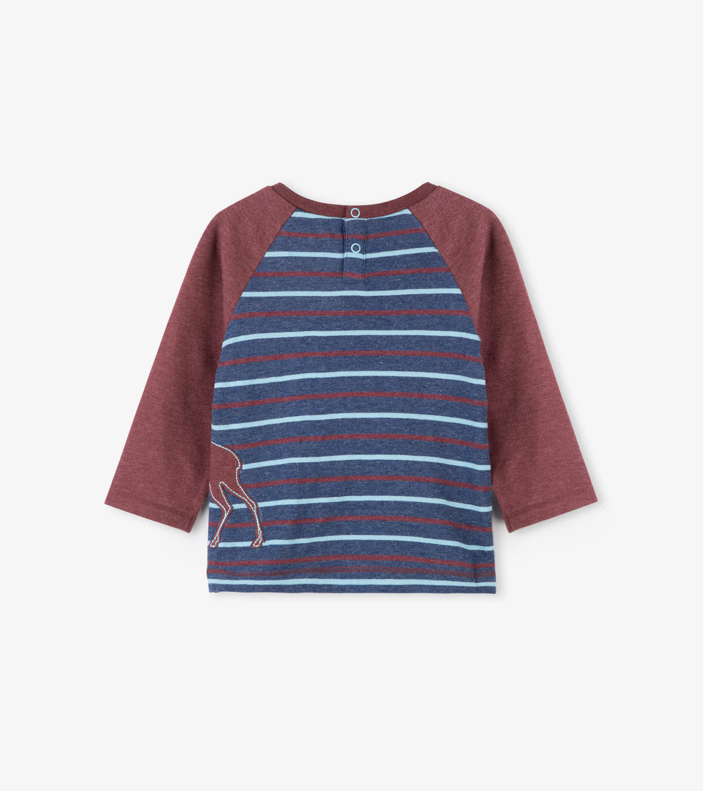 Striped Long Sleeve Raglan Tee with Moose