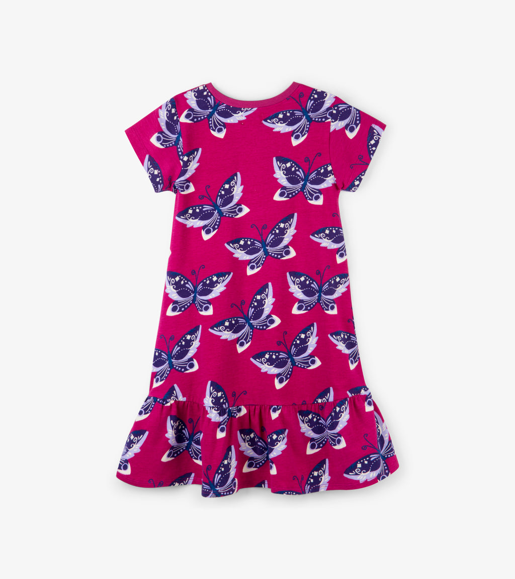 Graceful Butterflies Flounce Hem Dress
