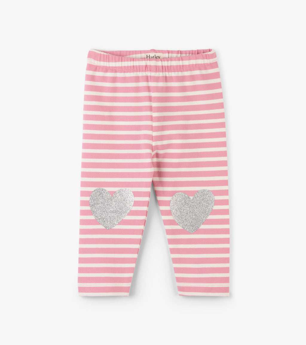 Light Pink Stripe Leggings with Metallic Hearts