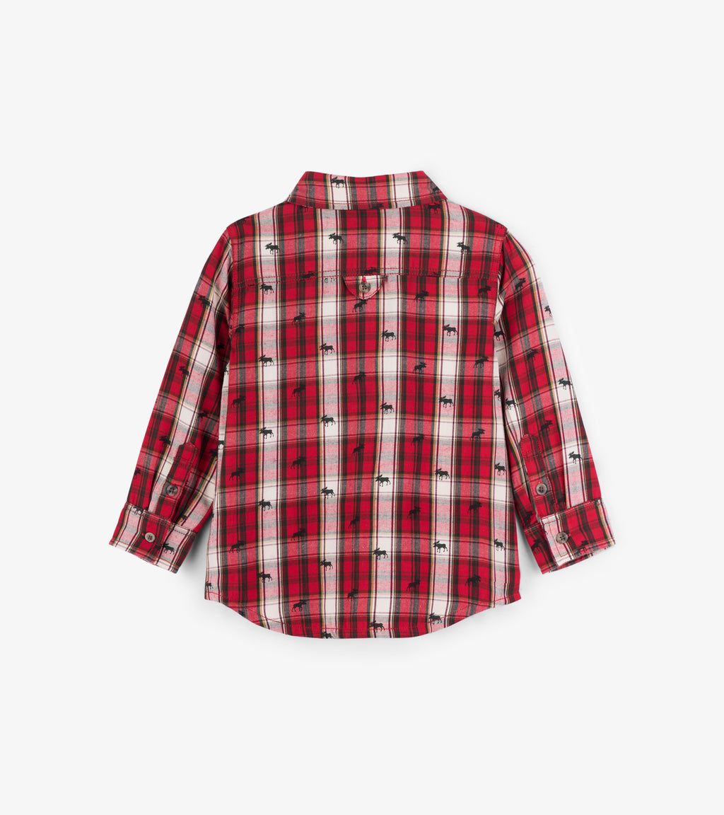 Tiny Moose Plaid Button-Down Shirt