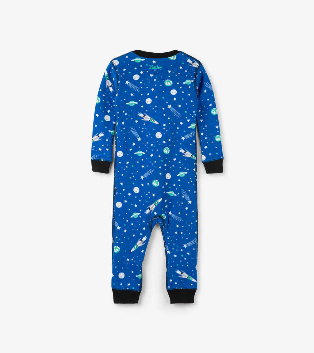 Outer Space Organic Cotton Coverall Pajamas