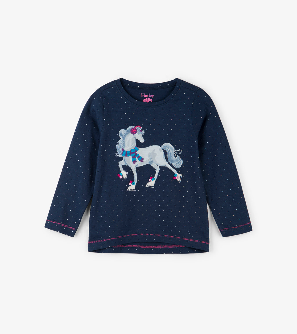 Ice Skating Horse Long Sleeve Tee