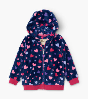 Confetti Hearts Fuzz Fleece Hooded Jacket
