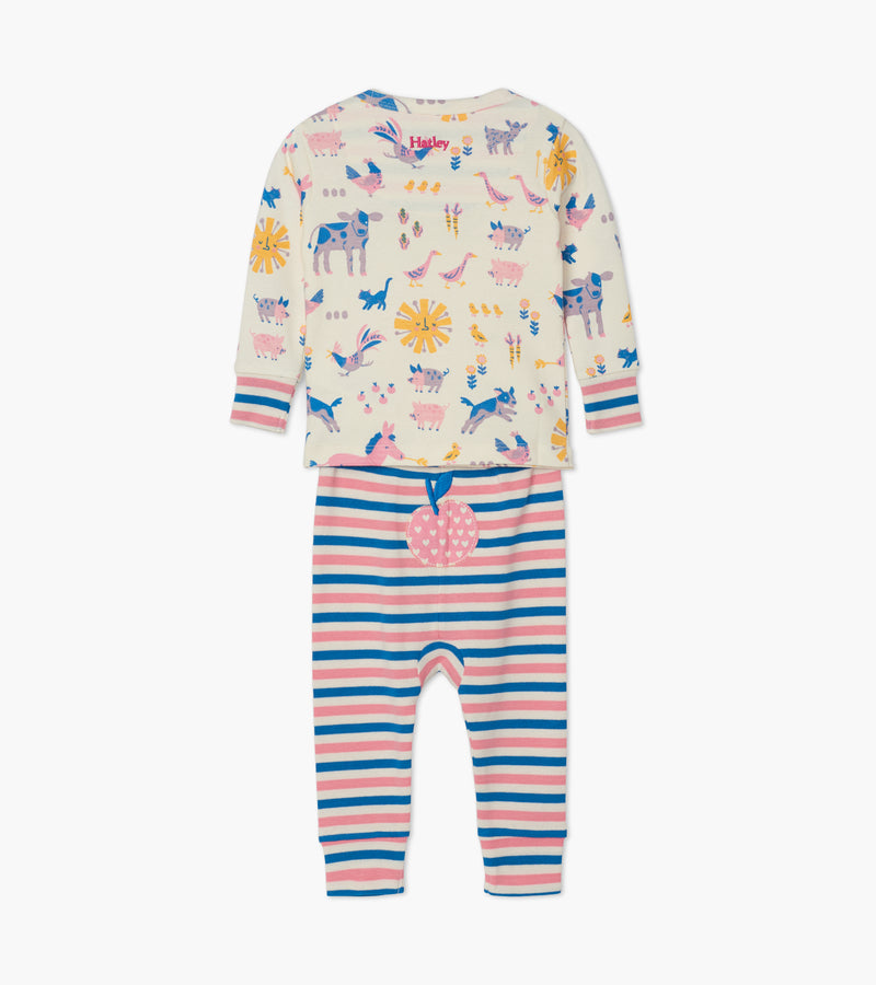 Retro Farm Organic Cotton Baby Pajama Set