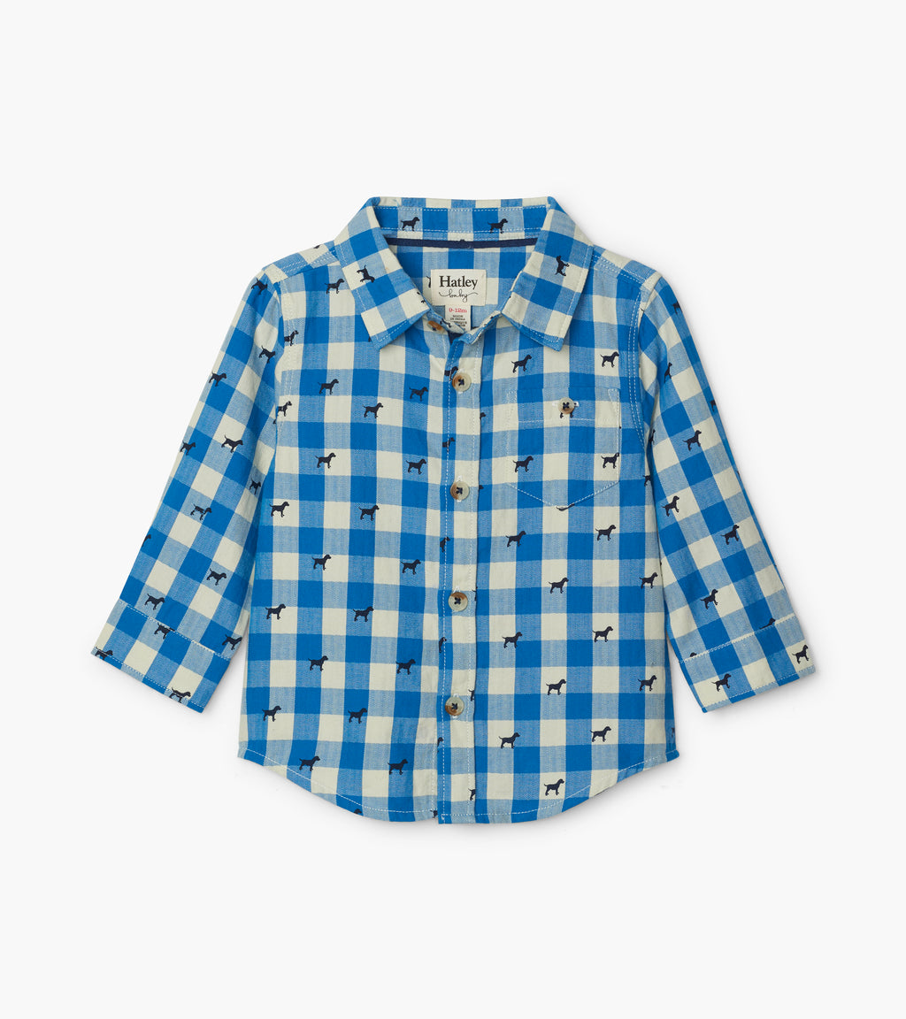 Blue Plaid Pups Button Down Shirt