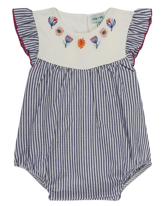 Embroidered Stripe Woven Romper front
