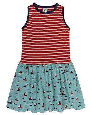 Red and White Stripe & Sailboats Dress