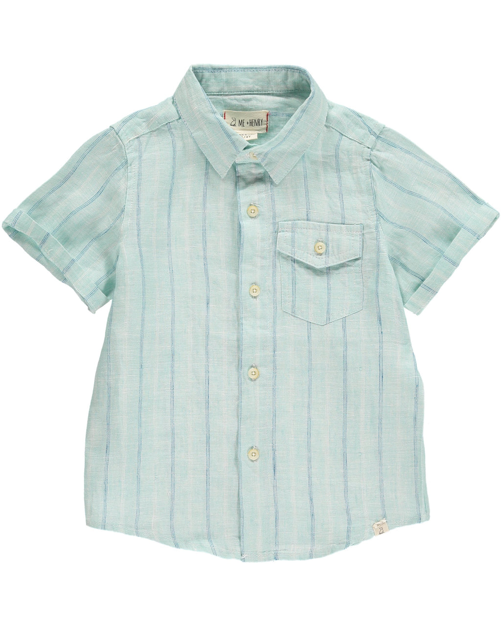 Green & Blue Striped Linen Shirt