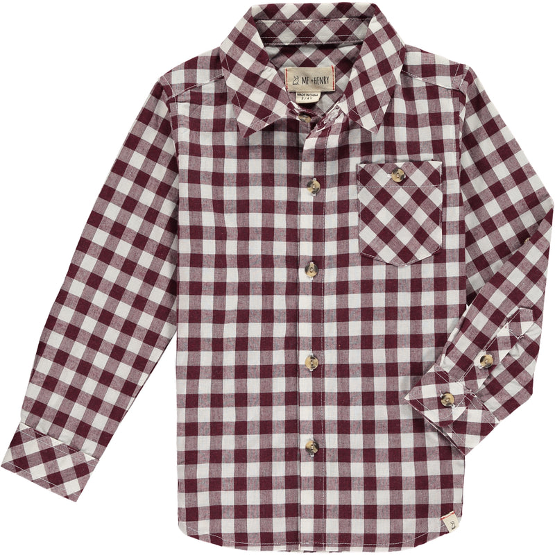 Wine Plaid Long Sleeve Shirt