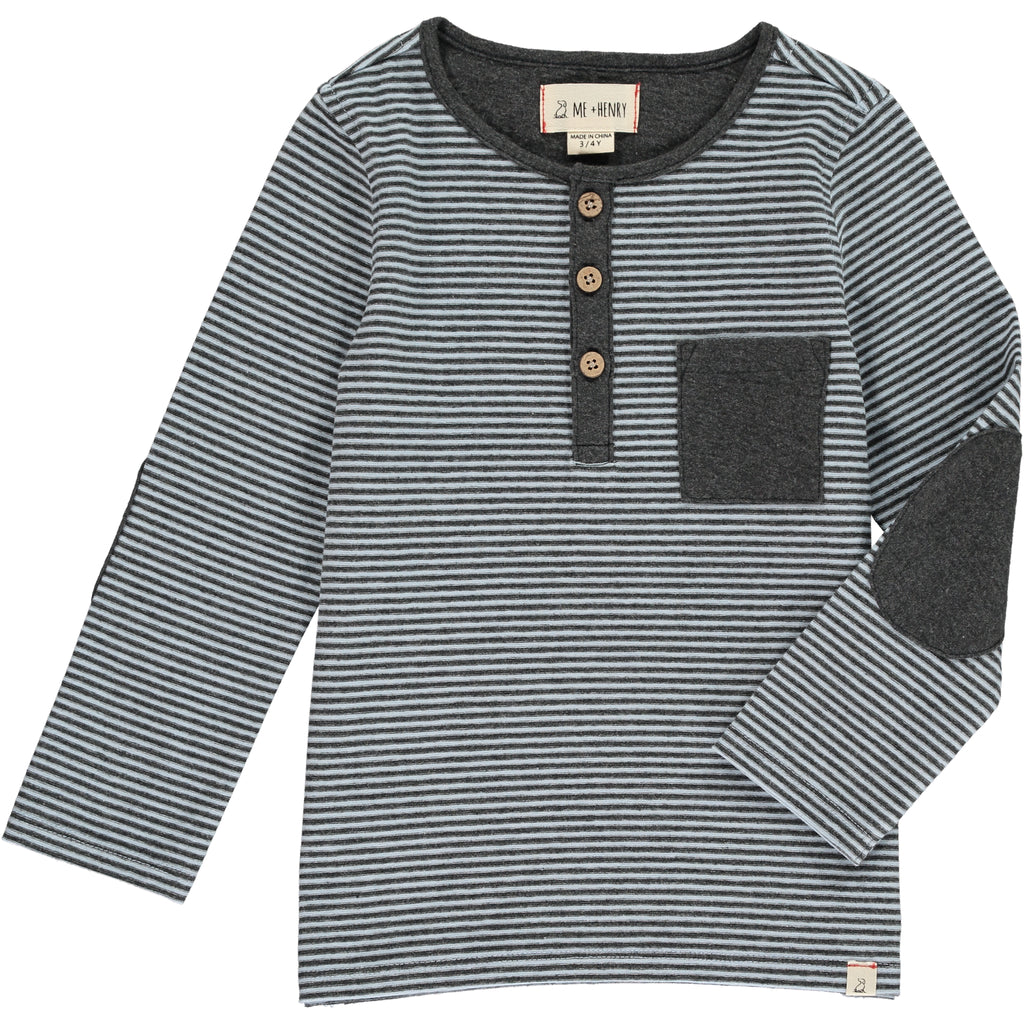 Light Blue & Gray Stripe Slub Henley Tee