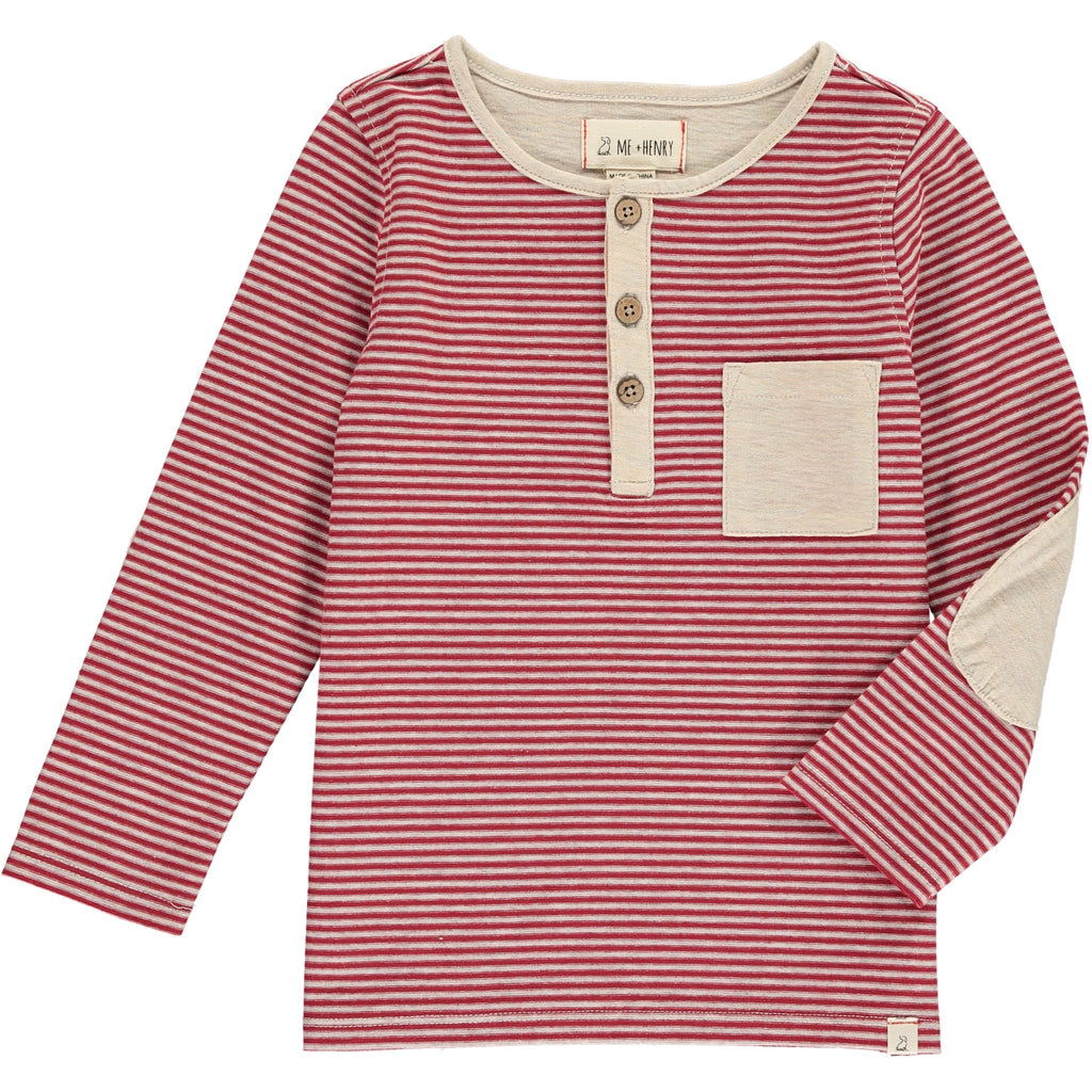 Red & Cream Stripe Slub Henley Tee