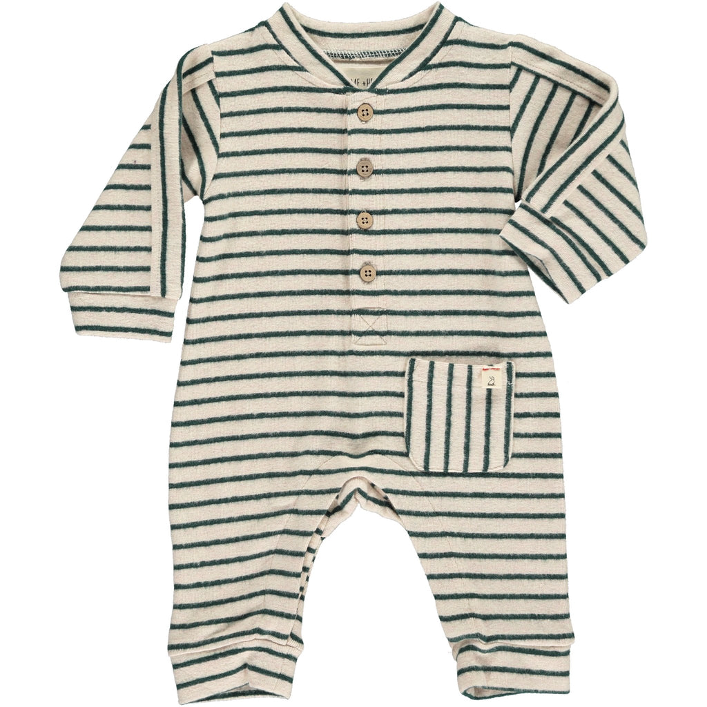 Green & Beige Stripe Coverall